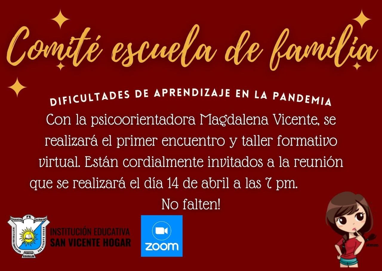 """Invitación """"Comité Escuela de familia"""""""
